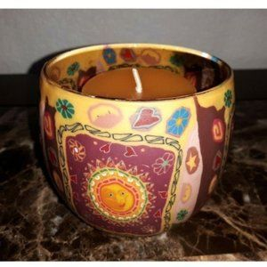 Hippie Boho Sun Moon and Stars Glass Candle Holder